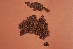 De kaart van Australië van koffiebonen die wordt gemaakt Royalty-vrije Stock Afbeelding