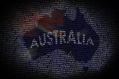 De kaart van Australië van tekst Royalty-vrije Stock Fotografie