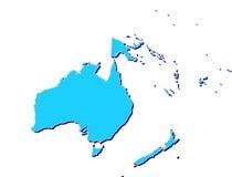 De kaart van Australië en van Oceanië in 3D Stock Foto