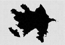 De kaart van Azerbeidzjan - hoog gedetailleerde Zwarte kaart met provincies/gebieden/staten van azerbaijan De kaart van Afghanist vector illustratie