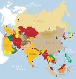De Kaart van Azië Stock Foto