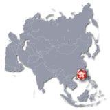 De kaart van Azië met Hong Kong Royalty-vrije Stock Fotografie