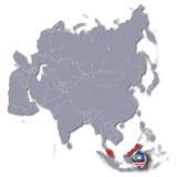 De kaart van Azië met Maleisië Royalty-vrije Stock Afbeeldingen