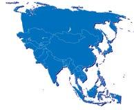 De kaart van Azië in 3D Royalty-vrije Stock Afbeeldingen