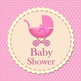 De kaart van de babydouche voor meisje, uitnodiging, eps10 vector illustratie