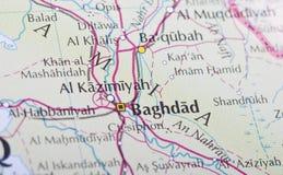 De kaart van Bagdad stock afbeelding