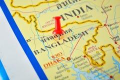 De kaart van Bangladesh Stock Foto