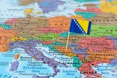 De kaart van Bosnië-Herzegovina stock foto