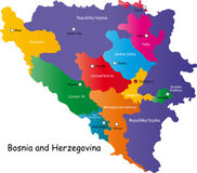 De kaart van Bosnië-Herzegovina Royalty-vrije Stock Foto