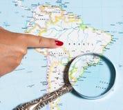 De Kaart van Brazilië Stock Foto