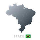 De kaart van Brazilië met officiële vlag Stock Fotografie