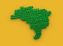 De kaart van Brazilië met tekst, diverse sportconcurrentie Royalty-vrije Stock Afbeelding