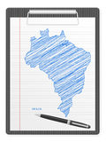 De kaart van Brazilië van het klembord Royalty-vrije Stock Fotografie