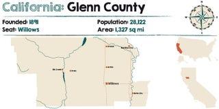 De kaart van Californië - Glenn-van de provincie royalty-vrije illustratie