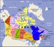 De kaart van Canada. Stock Foto