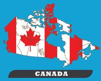 De kaart van Canada en de Vlag van Canada stock illustratie