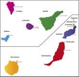 De kaart van Canarische Eilanden Stock Afbeelding