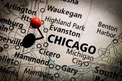 De Kaart van Chicago Stock Afbeeldingen