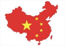 De kaart van China en nationale vlag Stock Afbeelding