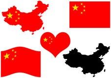 De kaart van China met vlag en hart Stock Foto