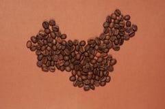 De kaart van China van koffiebonen die wordt gemaakt Stock Afbeelding
