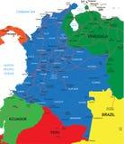 De kaart van Colombia Stock Afbeeldingen