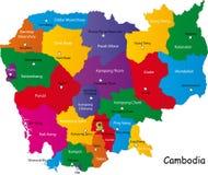 De kaart van Combodia Stock Foto's