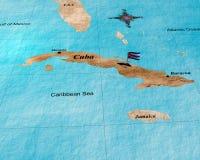 De kaart van Cuba Stock Afbeeldingen