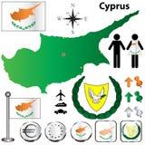 De kaart van Cyprus Stock Foto's