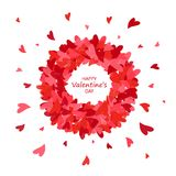 De kaart van de de daggroet van de valentijnskaart `s Harten om frame Het concept van de liefde Vector illustratie vector illustratie
