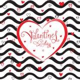De kaart van de de daggroet van Valentine ` s met liefdeharten en golfpatroon Stock Fotografie
