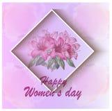 De kaart van de de daggroet van vrouwen met bloemenachtergrond stock afbeeldingen