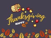 De Kaart van de dankzeggingsgroet met Appelen Stock Afbeeldingen