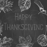 De kaart van de dankzeggingsgroet met de herfstbladeren Thanksgiving dayontwerp op bord Hand getrokken illustratie vector illustratie