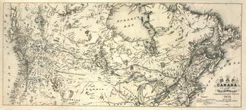 de Kaart van de 19de Eeuw van Canada Stock Foto's