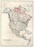 de Kaart van de 19de Eeuw van Noord-Amerika Royalty-vrije Stock Afbeelding