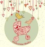 De Kaart van de Aankomst van de baby met Vogels en Wandelwagen Stock Foto