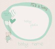 De Kaart van de Aankomst van de Jongen van de baby met PhotoFrame Stock Fotografie