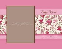 De Kaart van de Aankomst van het Meisje van de baby met Frame Royalty-vrije Stock Afbeeldingen