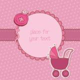De Kaart van de Aankomst van het Meisje van de baby met het Frame van de Foto vector illustratie