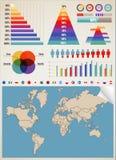 De kaart van de aarde en verschillende kleurenelementen Royalty-vrije Stock Fotografie