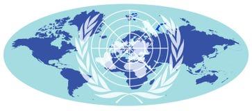De kaart van de aarde met het embleem van de Verenigde Naties Royalty-vrije Stock Afbeelding