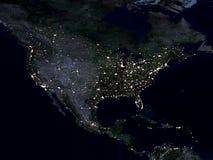 De kaart van de aarde, Noord-Amerika, nacht stock illustratie