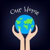 De kaart van de aardedag met planeet en handen Ons Huis Vector illustratie vector illustratie
