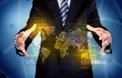 De kaart van de aardestatistieken van de bedrijfspersoonsholding Stock Fotografie