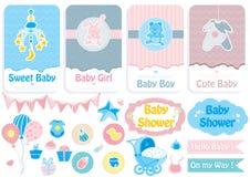 De kaart van de babydouche, banner en stickerreeks Royalty-vrije Stock Afbeelding