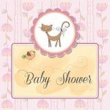 de kaart van de babydouche met kat Stock Fotografie