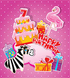 De kaart van de babyverjaardag met flamingo en gestreepte, grote cake Stock Foto