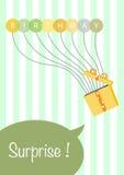 De kaart van de ballonsverjaardag giftkaart en giftenideaal Royalty-vrije Stock Foto