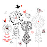 De kaart van de bloem met vogels vector illustratie